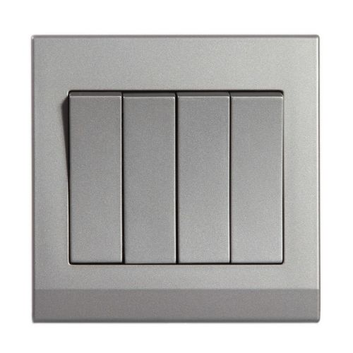 Simplicity Grey Screwless Rocker Light Switch 4 Gang 2 Way 07062